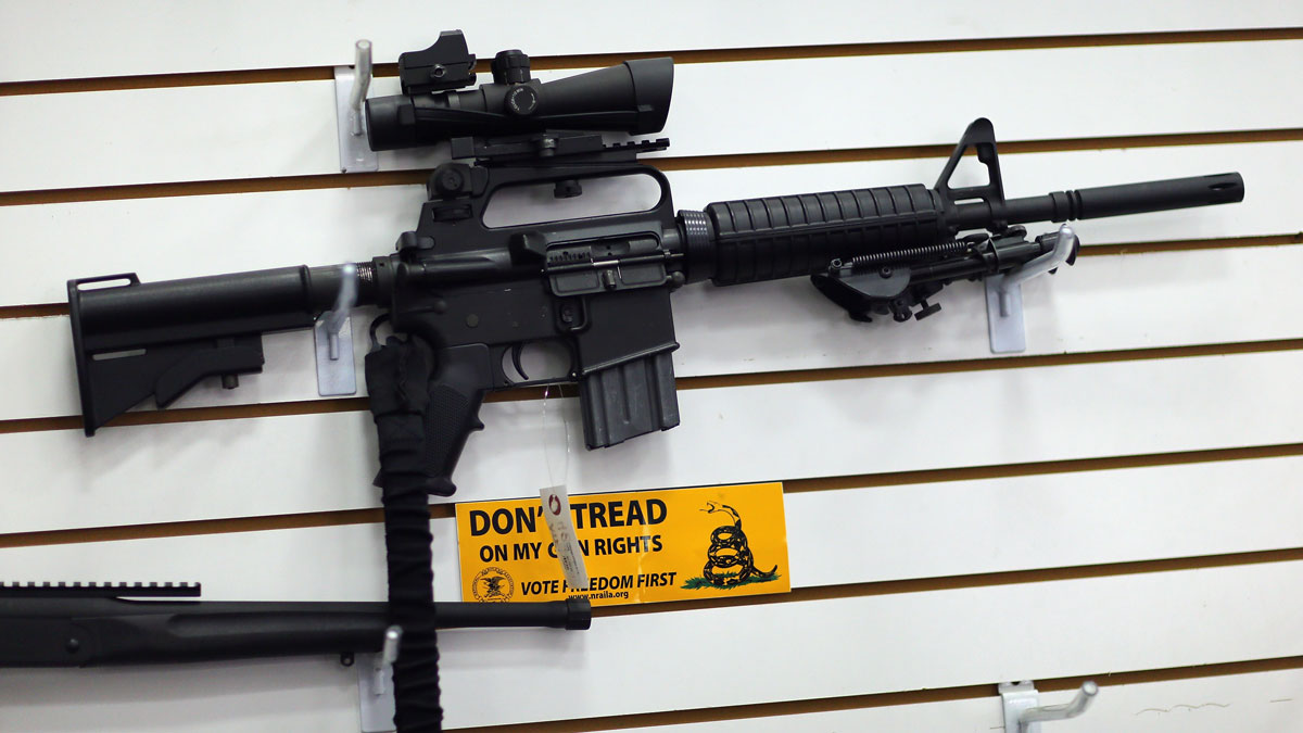 File - An AR-15 is seen for sale on the wall at the National Armory gun store on January 16, 2013 in Pompano Beach, Florida.