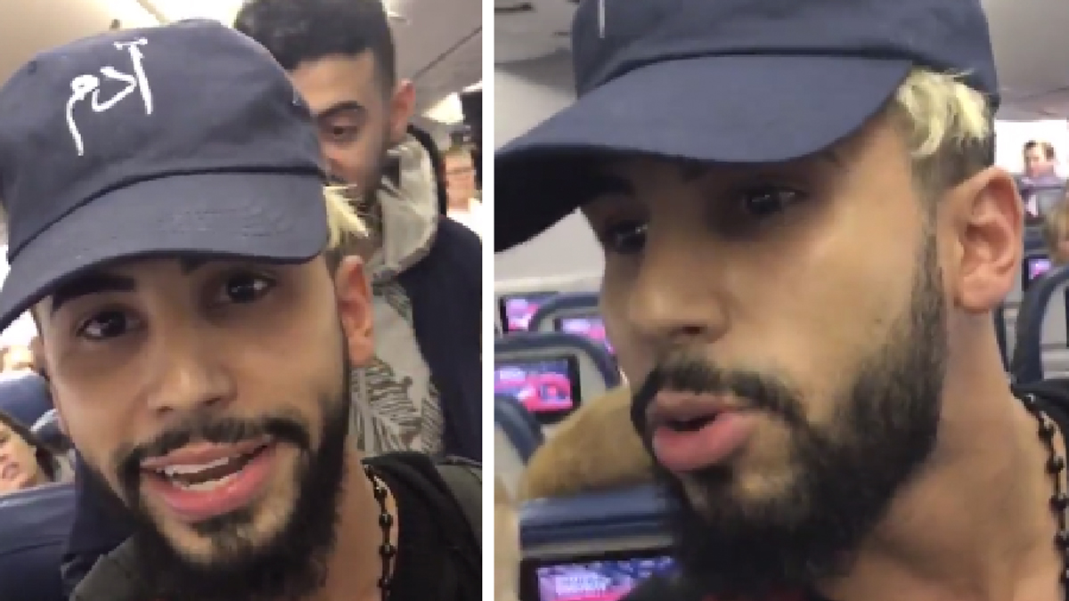 Screenshots from a Twitter video posted by YouTube star Adam Saleh on Wednesday, Dec. 21, 2016, in which he says he was kicked off a Delta flight for speaking Arabic with his mother. Delta is investigating the incident.
