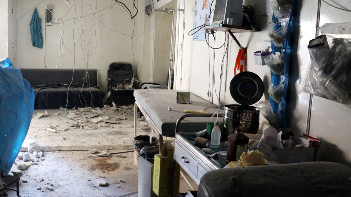 An inside view of the Beyan hospital after a helicopter belonging to the Syrian army carried out barrel bomb attacks on a bazaar at the opposition controlled al-Shear neighborhood in Aleppo, Syria on June 8, 2016.