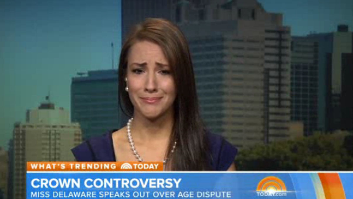 A screen show from Amanda Longacre's Today show appearance. The former Miss Delaware was stripped of her crown earlier this week because of an age clause.