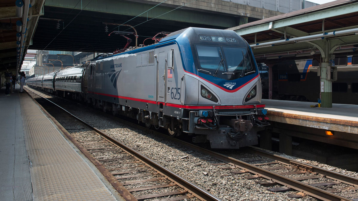 An Amtrak train departs Union Station in Washington, Thursday, Sept. 3, 2015.
