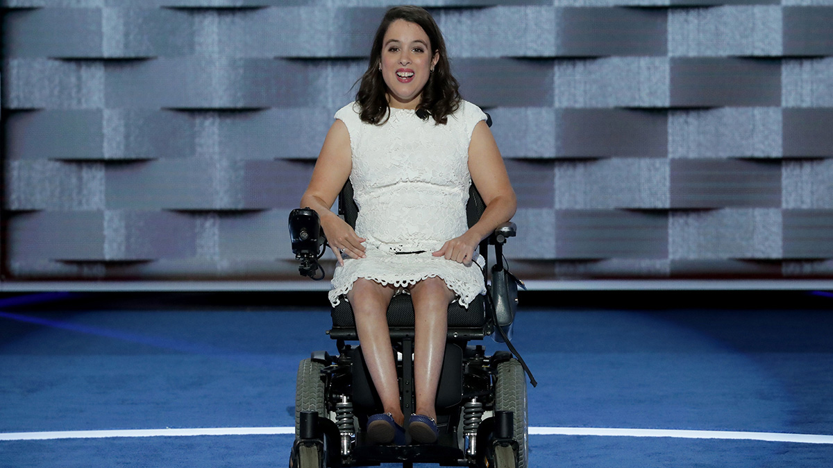 Anastasia Somoza, an international disability rights advocate, delivers remarks on the first day of the Democratic National Convention on July 25, 2016, in Philadelphia, Pennsylvania.