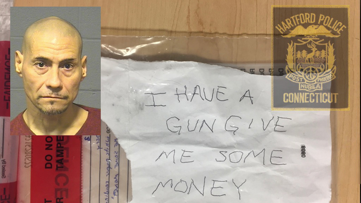 Angel Colon is accused of passing this note demanding money from a bank teller at Key Bank in Hartford Friday afternoon.