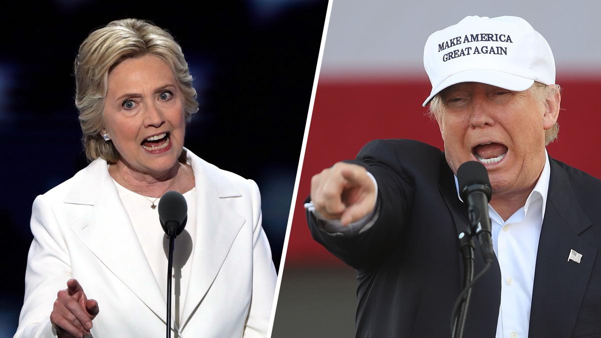 Democrat Hillary Clinton (L) and Republican Donald Trump.