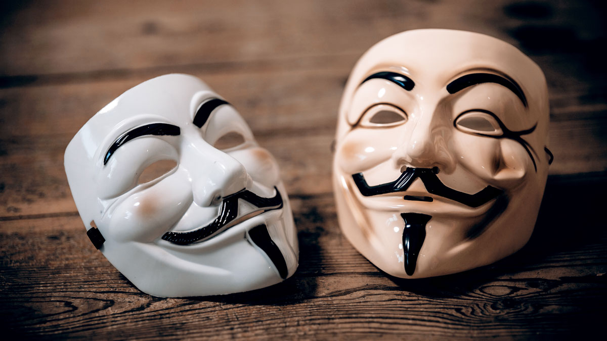 Guy Fawkes masks, often worn by supporters of the hacker group Anonymous, are pictured in this file photo.