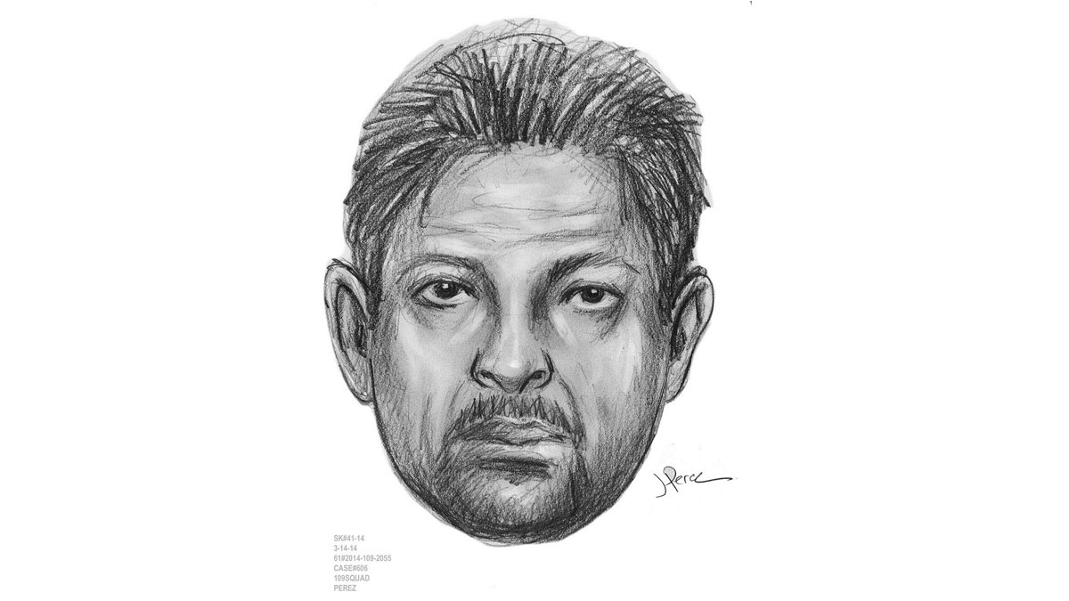 Police released this sketch of the suspect. They say he fled in a dark blue, four-door sedan.