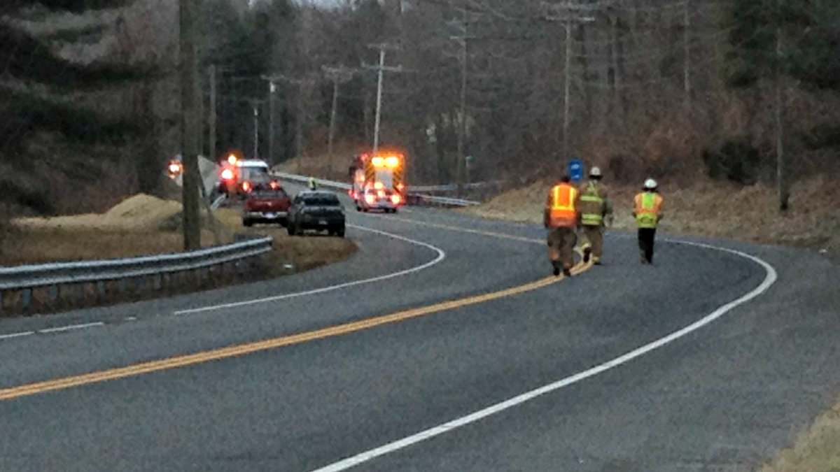 Two people were hurt in a head-on crash on Route 44 in Barkhamsted Wednesday morning.