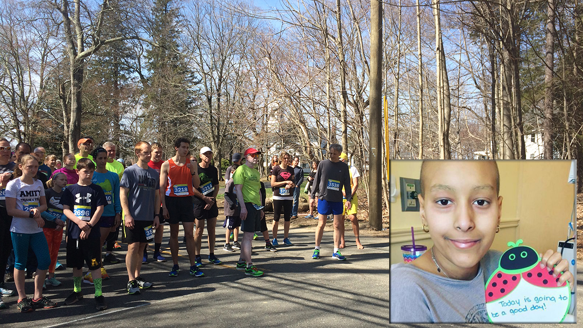 About 100 people hit the road for the Be the Match 5K in Woodbridge Saturday, which raises money and awareness for the Be the Match bone marrow registry. Briana Lopez (inset) of Fort Lee, NJ, is one runner's motivation to be there.