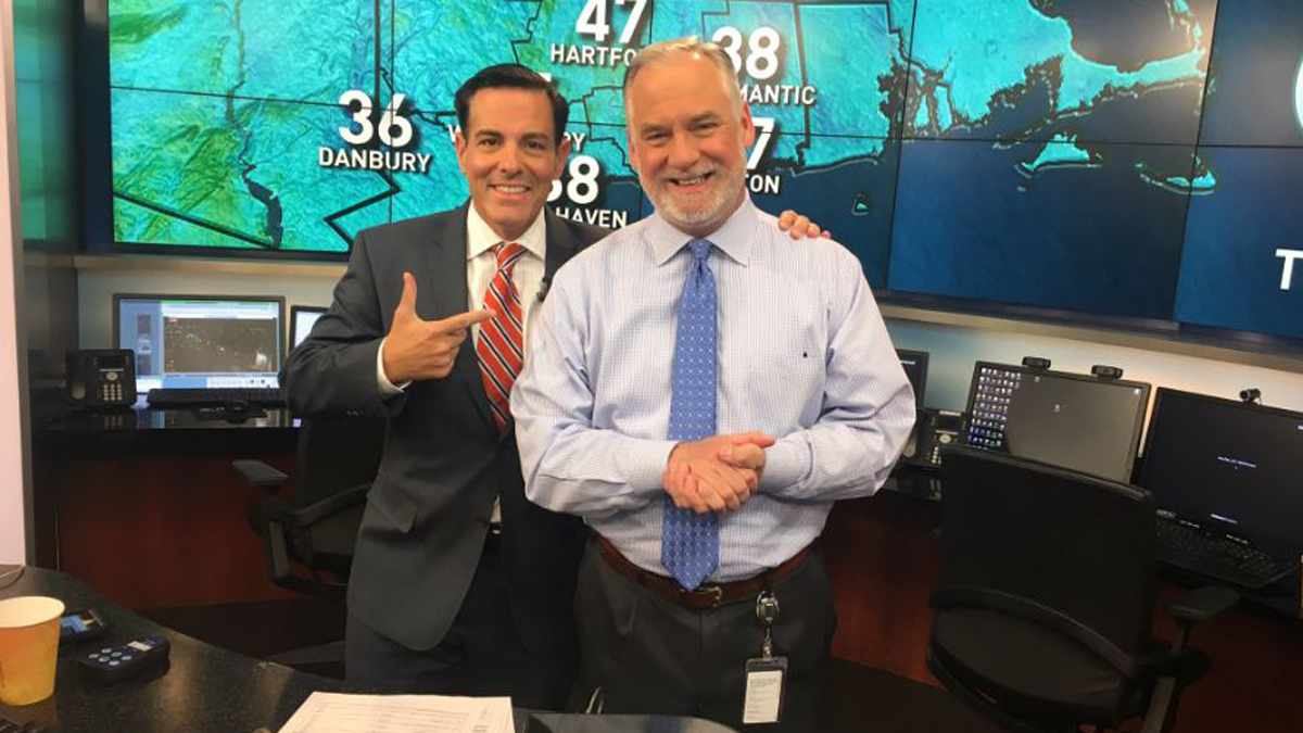 NBC Connecticut meteorologist Bob Maxon with NBC Connecticut meteorologist Darren Sweeney.