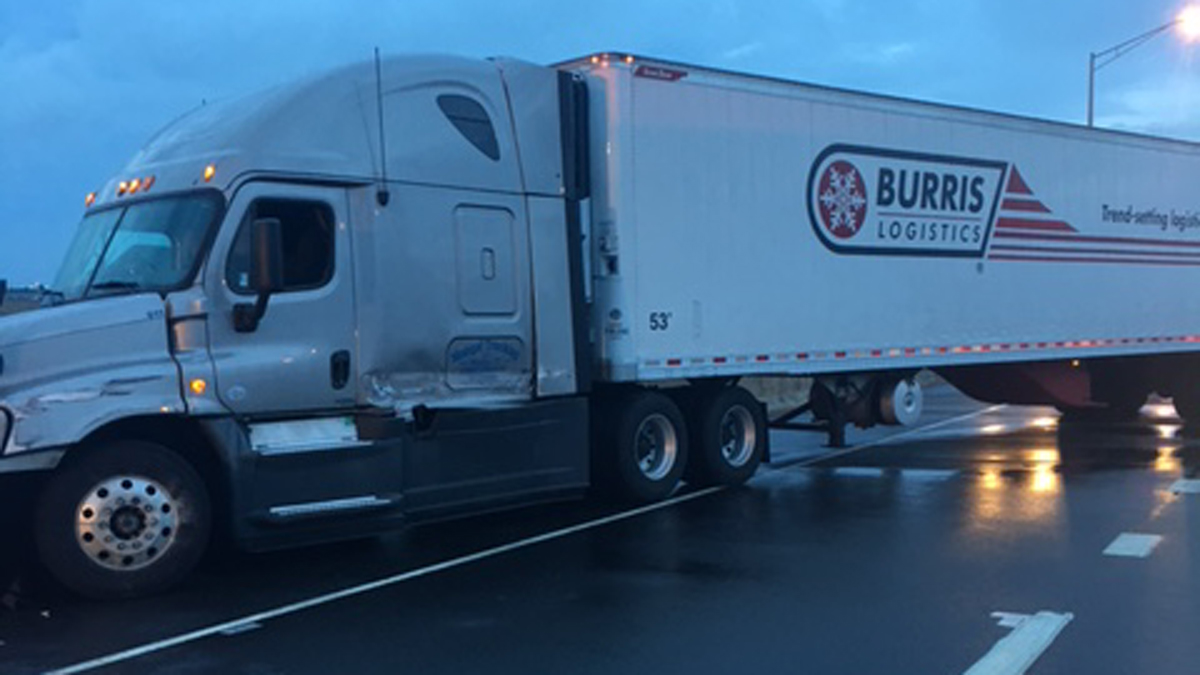 A jack-knifed tractor trailer on I-95N in Bridgeport Tuesday morning.