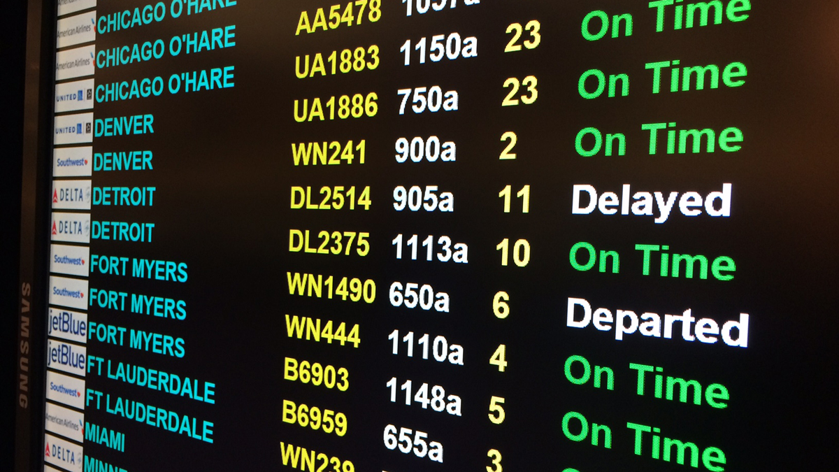 A Delta flight from Bradley International Airport to Detroit was delayed Monday morning following a Delta systems outage that canceled hundreds of flights across the country.