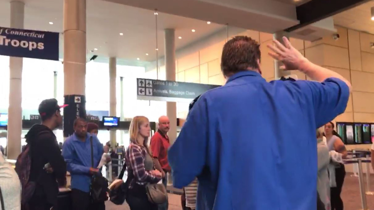 Travelers were asked to move away from a TSA security checkpoint at Bradley International airport Tuesday afternoon over an item that was found in a bag.