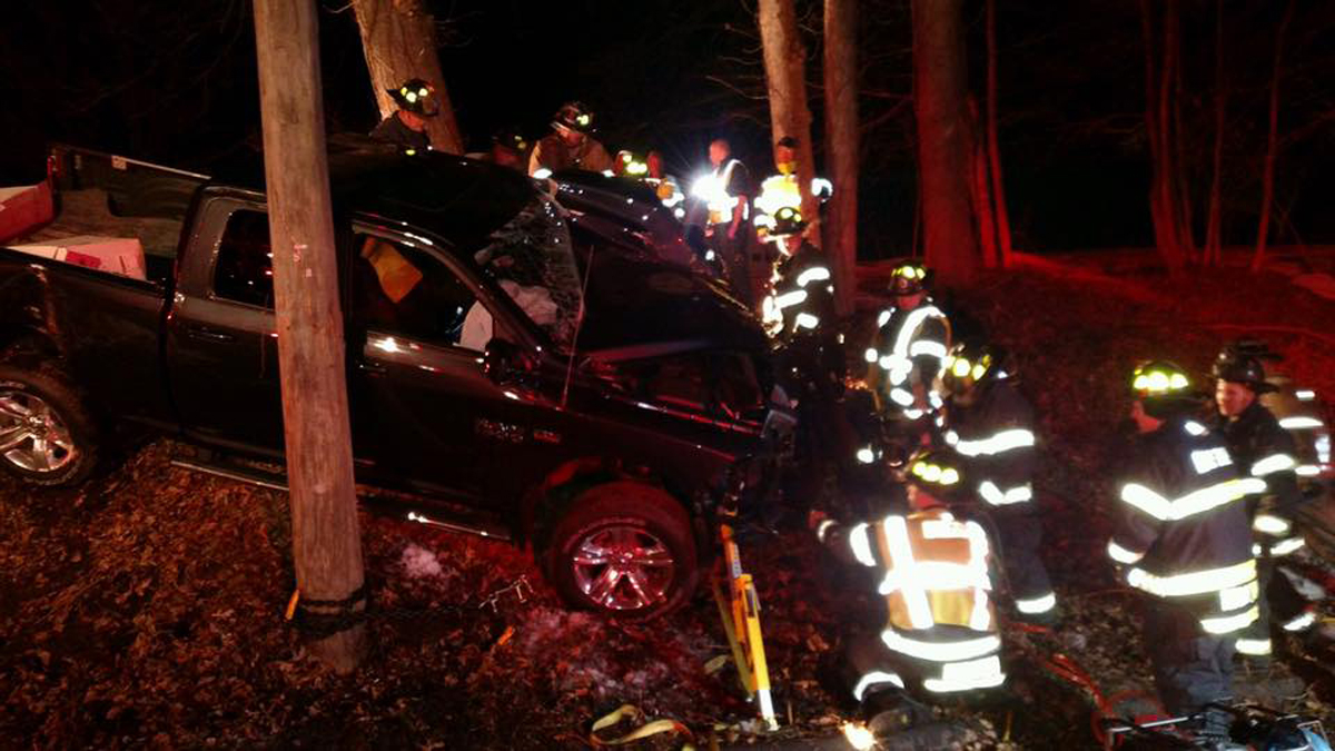 Police said one person was injured when a pickup struck a pole on Burlington Avenue (Route 69) in Bristol Friday night.