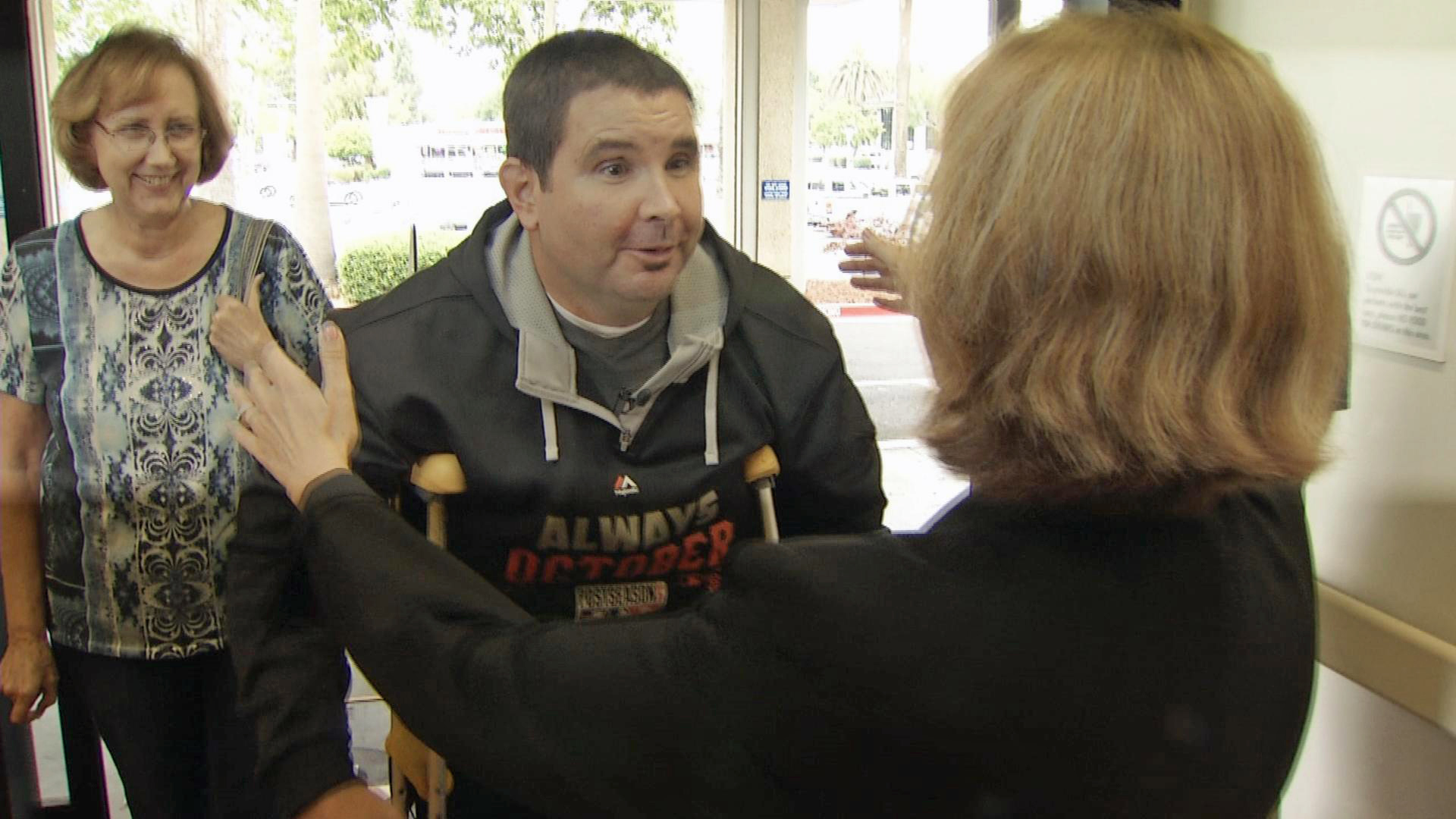 Bryan Stow returned to Valley Medical Center in San Jose to thank the caregivers who helped save his life, Wednesday, June 10, 2015.
