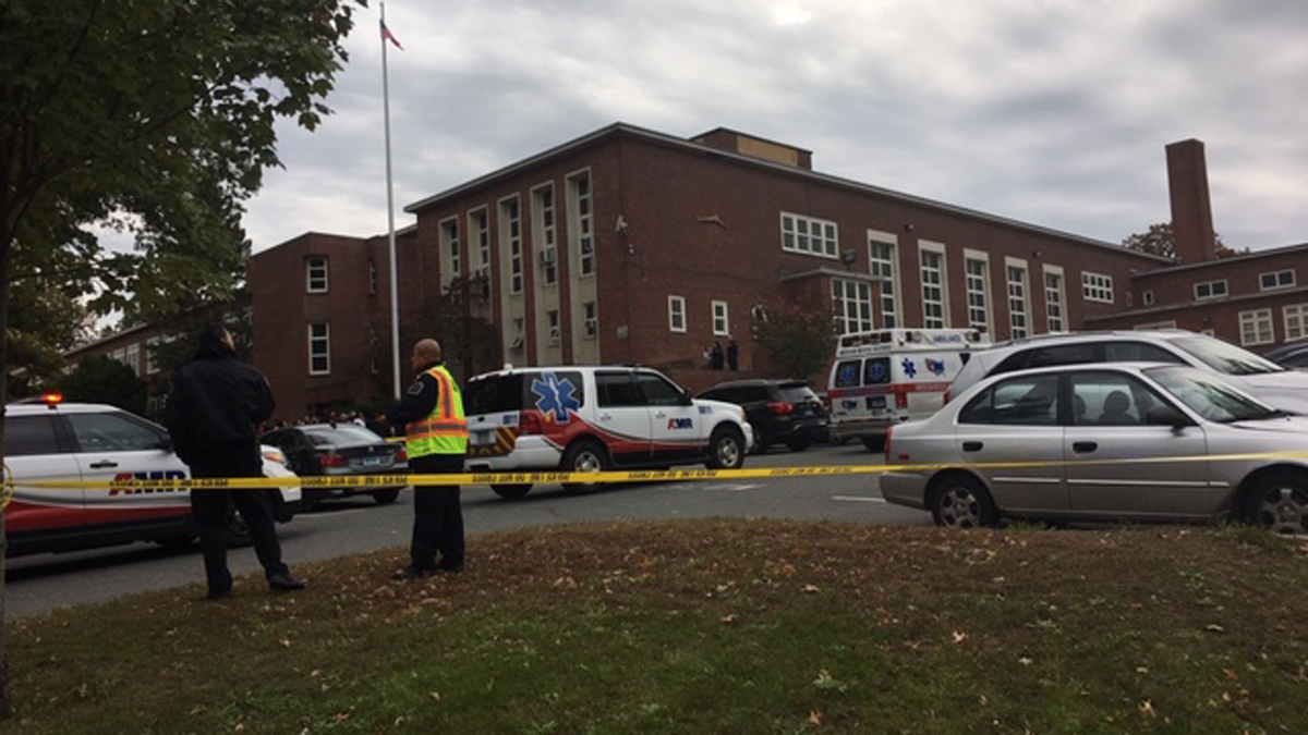 Emergency crews on scene at Burns Elementary in Hartford due to a white powder incident Monday.