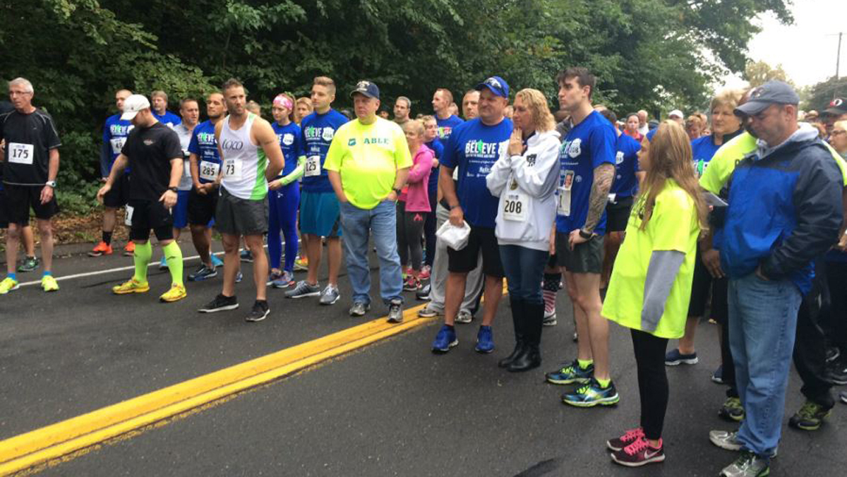 Runners lined up at the Believe 208: Run for the Brave and Finest on Sunday, Oct. 2, 2016 in East Hartford.