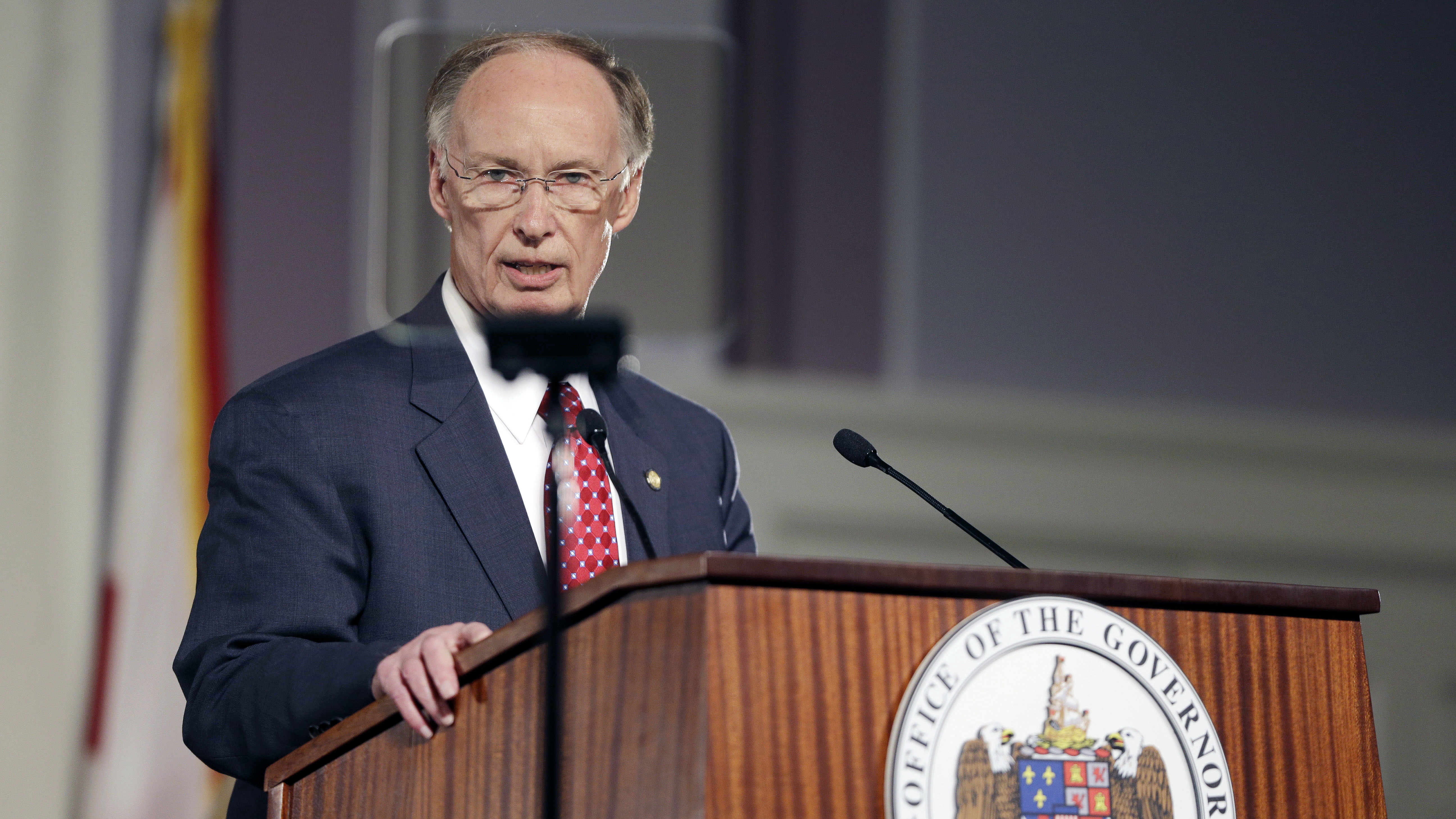Alabama Gov. Robert Bentley speaks during the annual State of the State address at the Capitol, Tuesday, March 3, 2015, in Montgomery, Ala.