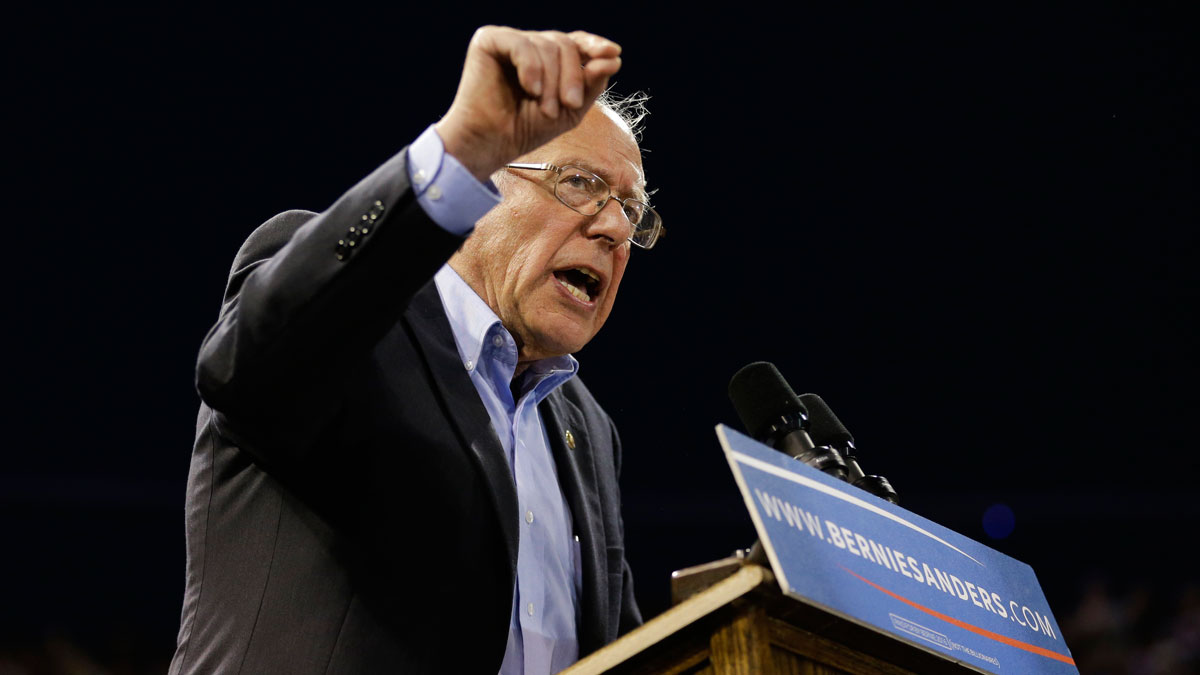 In this May 17, 2016 file photo, Democratic presidential candidate Sen. Bernie Sanders, I-Vt., speaks at a rally in Carson, Calif.