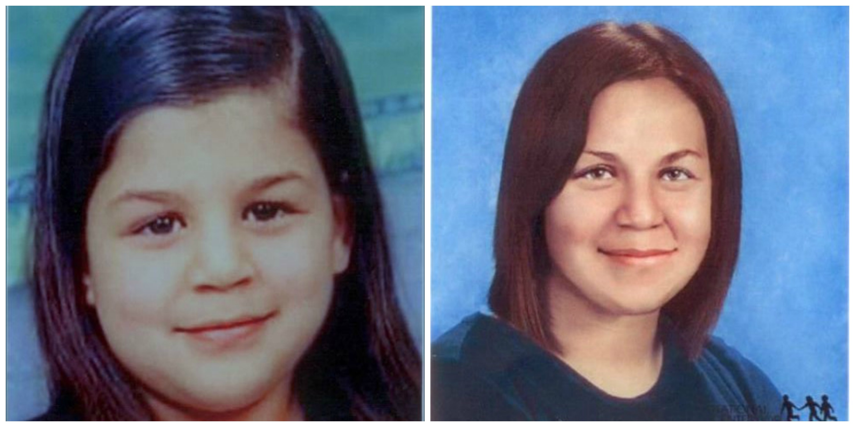 Bianca Lebron was 10 years old when she went missing, as shown in the photo at the left. The photo at the right shows an age progression to 23 years old.