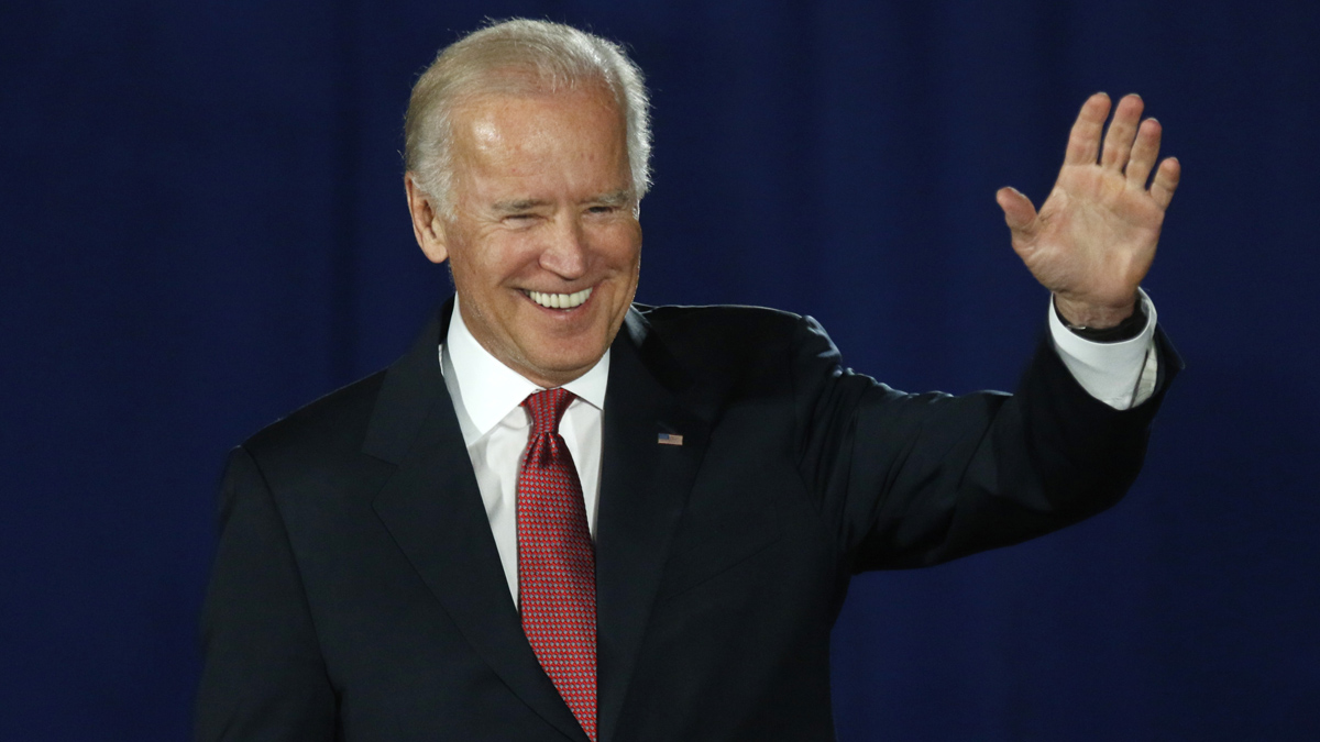 In this file photo Vice President Joe Biden waves to the audience before speaking at an It's On Us event on the Ohio State University campus in Columbus, Ohio, Sept. 17, 2015.