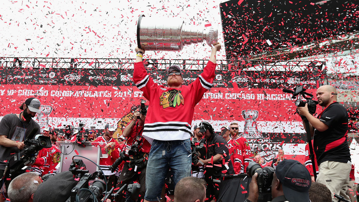 Marian Hossa #81 of the Chicago Blackhawks holds the Stanley Cup trophy during the Chicago Blackhawks Stanley Cup Championship Rally at Soldier Field on June 18, 2015 in Chicago, Illinois.