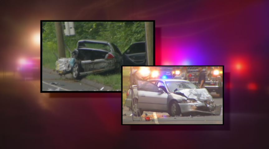 Two cars were totaled after a crash in Bloomfield.