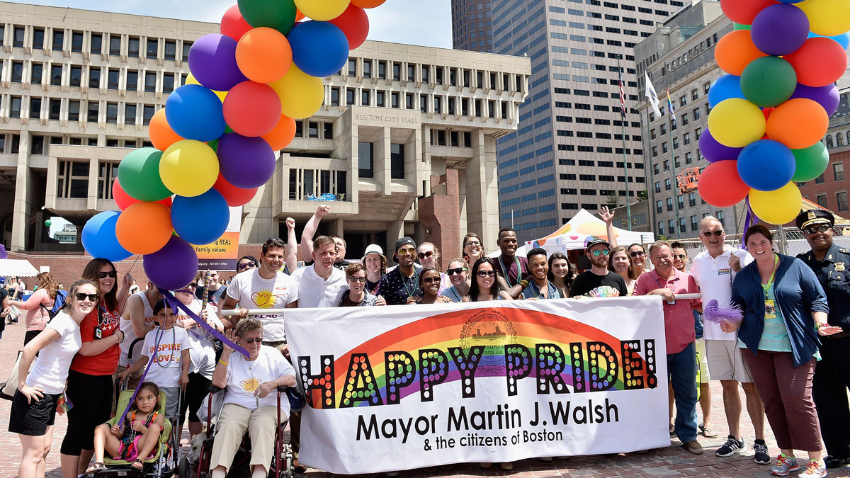 Boston Mayor Marty Walsh attends the 2015 45th Annual Boston Pride Festival Parade at Copley Square on June 13, 2015 in Boston, Massachusetts.