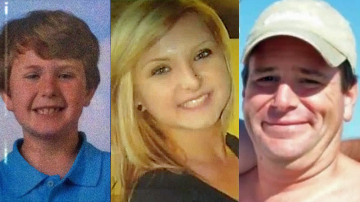 Updated images of Hannah Anderson (C) and suspect James Lee Dimaggio (R) pictured with 8-year-old Ethan Anderson (L).