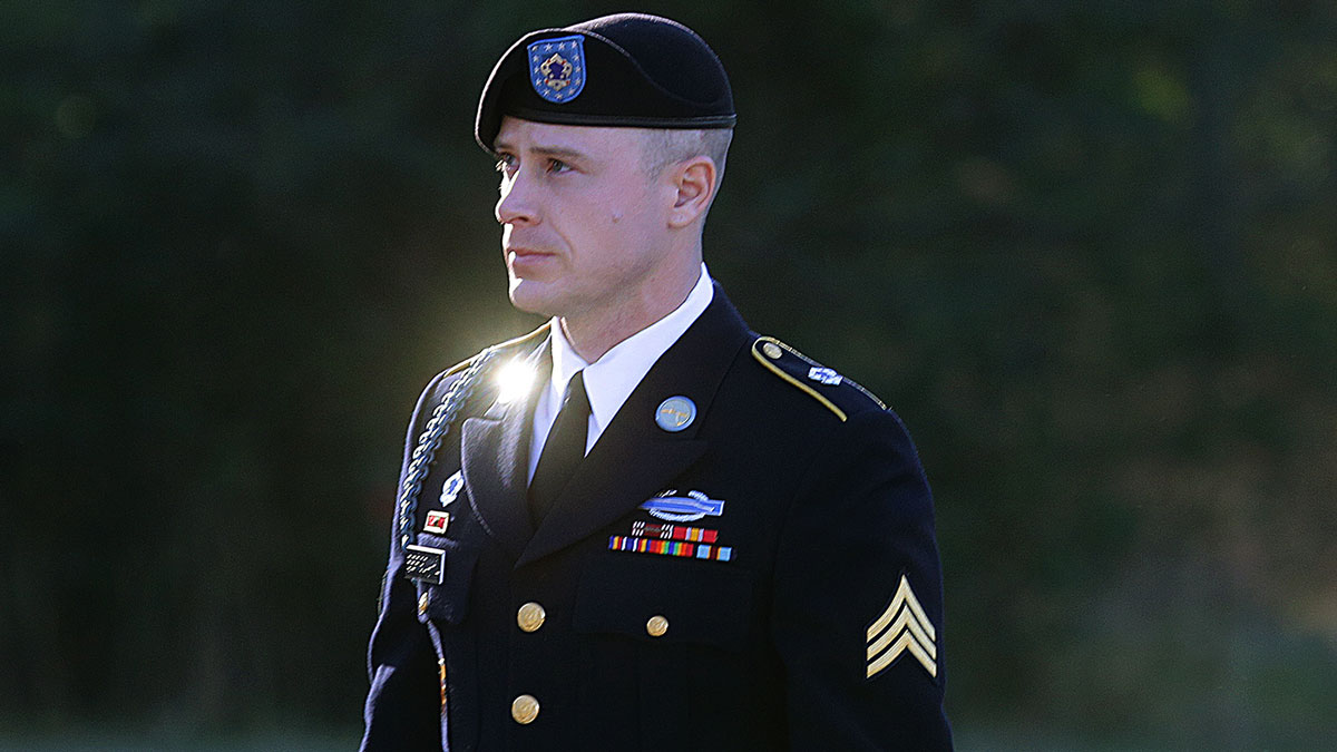 In this Jan. 12, 2016, file photo, Army Sgt. Bowe Bergdahl arrives for a pretrial hearing at Fort Bragg, North Carolina.