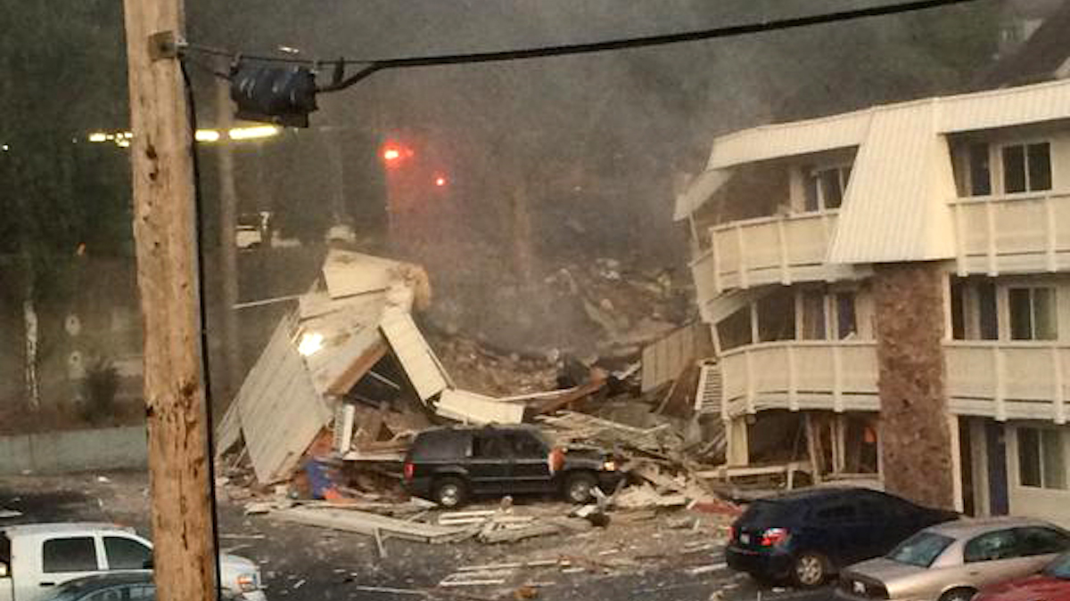 The scene at Motel 6 in Bremerton shortly after an explosion Tuesday night.