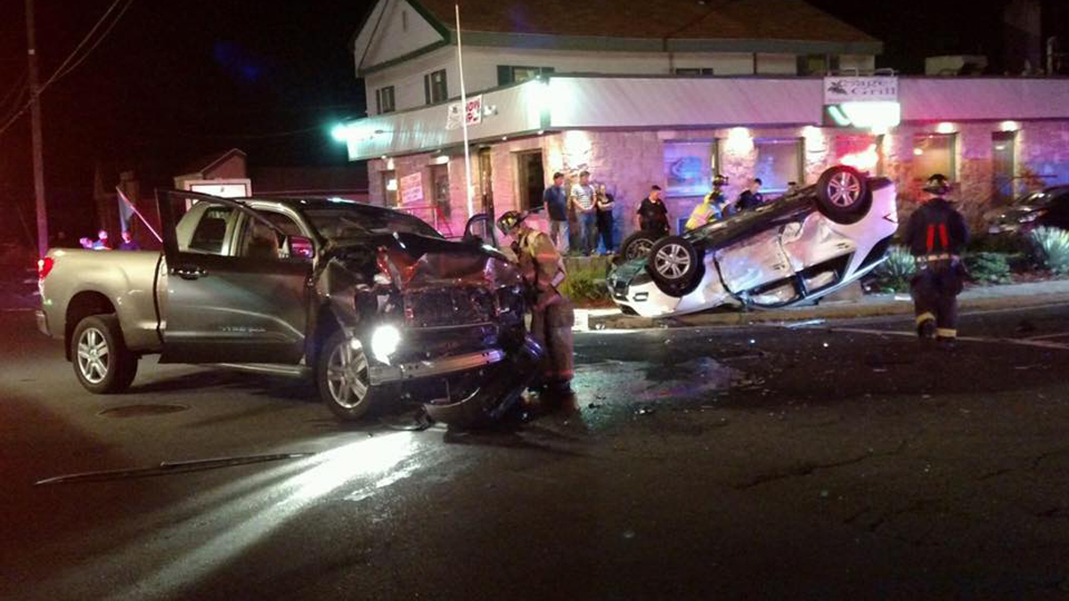 Two vehicles collided at the intersection of Broad Street and Emmett Street in Bristol Sunday night.