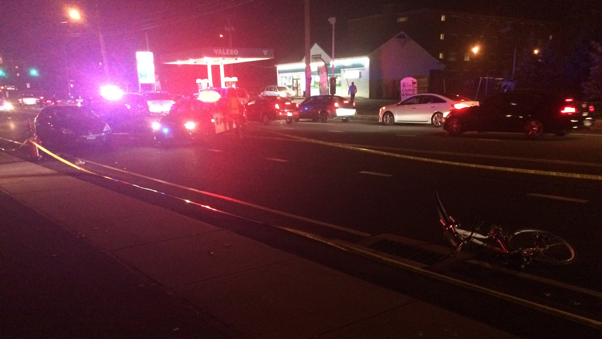 A bicyclist was killed when he was struck by a car on Route 72 in Bristol Saturday evening.