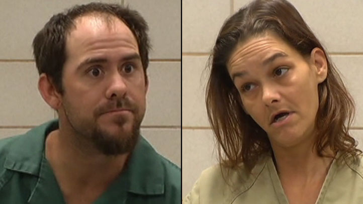 Chris Apala (left) admits killing three puppies and setting them on fire, he claims he was being humane. While his girlfriend Melissa Woodard (right) says she had nothing to do with the dogs' deaths. Both face animal cruelty charges.