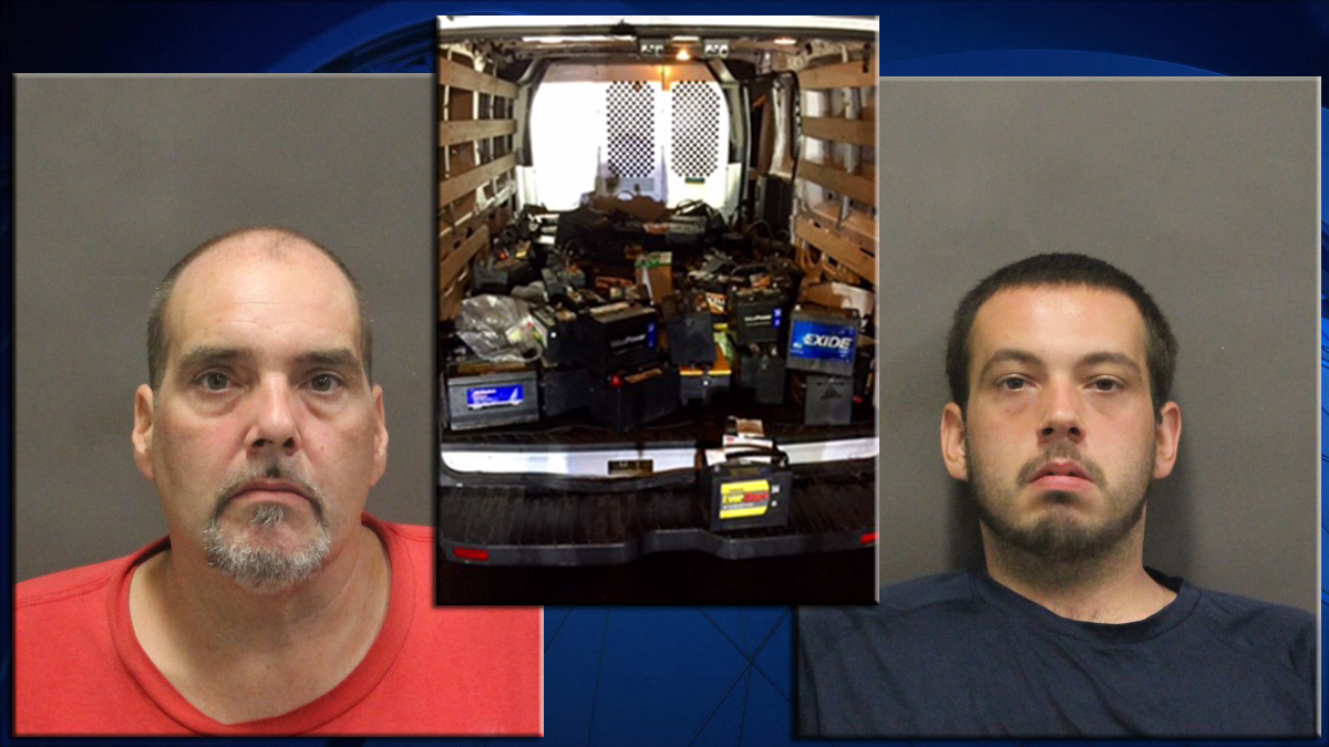 Peter Burwell, Jr. (left) and Peter Burwell III, and the stolen car batteries.