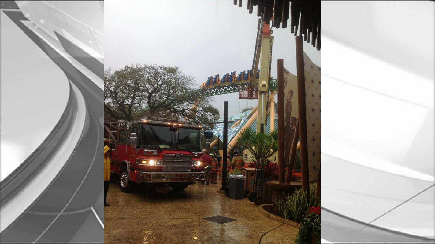 Tampa Fire Rescue had a ladder truck on the scene as firefighters worked to retrieve riders stuck on a Busch Gardens roller coaster Wednesday afternoon.