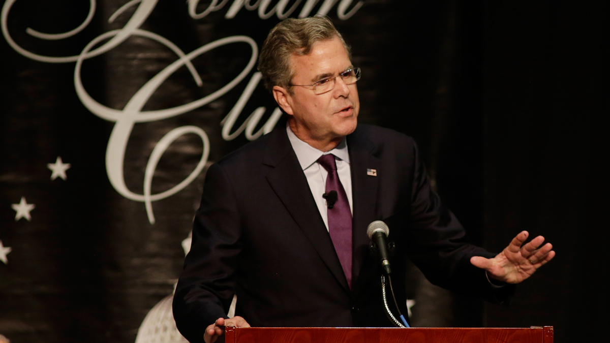 Republican presidential candidate, former Florida Gov. Jeb Bush speaks during a Forum Club of the Palm Beaches event Monday, Dec. 28, 2015, at the Palm Beach County Convention Center in West Palm Beach, Fla.
