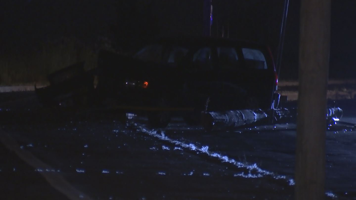 A car struck a pole on Beach Street in West Haven early Wednesday morning.