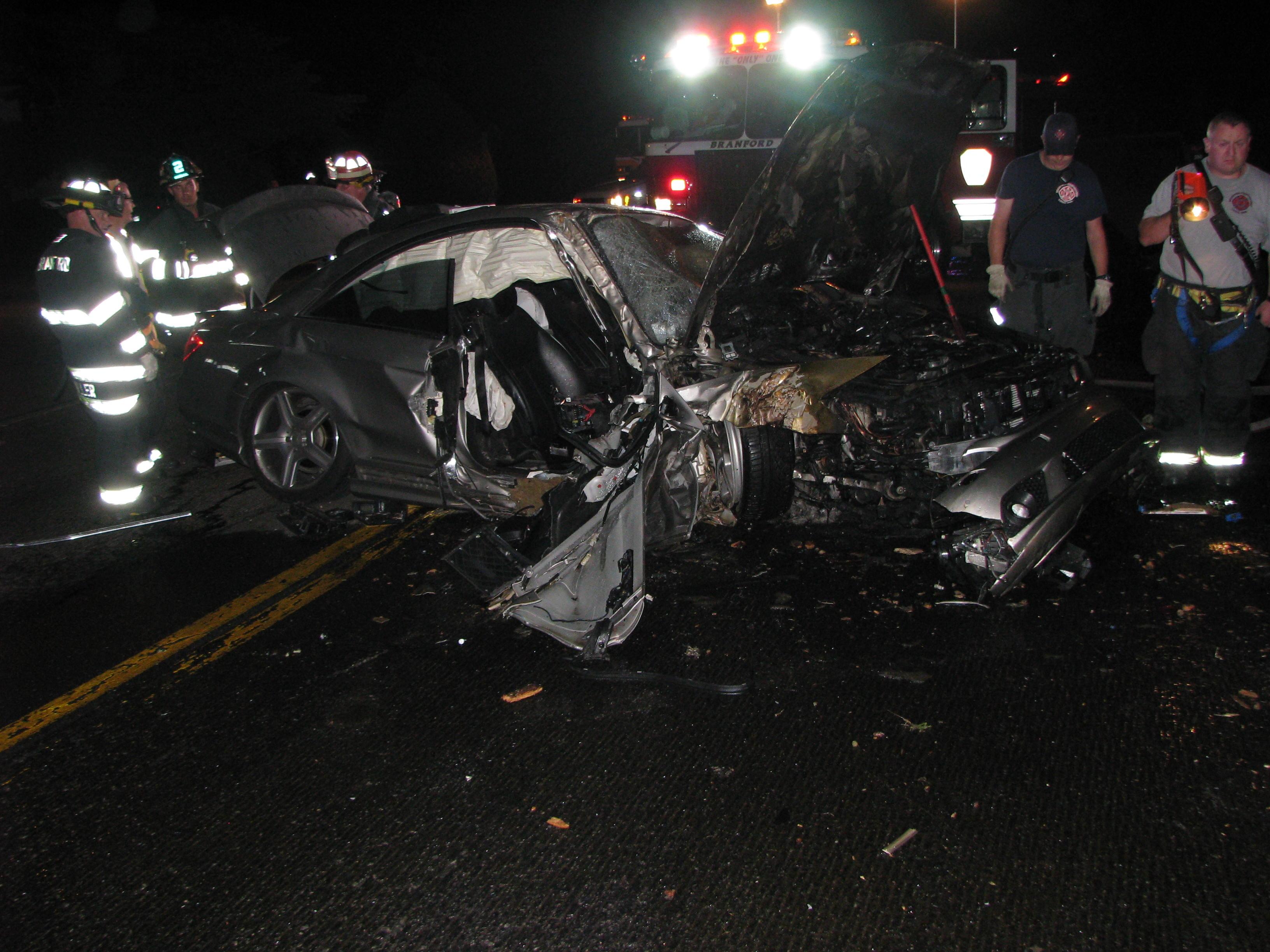 The scene of a crash in Branford.