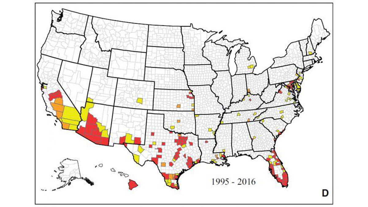 Map showing the reported occurrence of Ae. aegypti by county between 1 January 1995 and March 2016 in the United States. Counties shown in yellow had yellow fever mosquito presence records for 1 year within the specified time period, those shown in orange had 2 years of presence records within the specified time period, and those shown in red had 3 or more years of presence records within the specified time period.