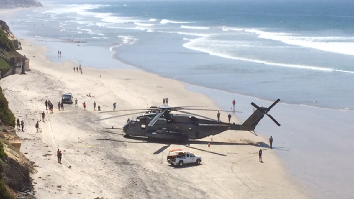 The CH-53 Marine helicopter made an unexpected landing on a beach in north San Diego on April 15, 2015.