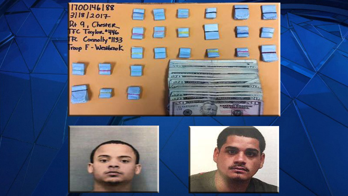 Drugs and cash seized (top) and Hector Burgos (bottom left) and Eddie Crespo (bottom right)