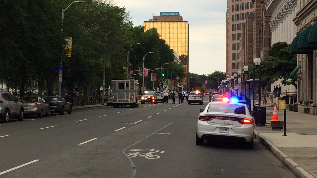 Church Street in New Haven was closed after someone phoned in a bomb threat to City Hall Tuesday evening.