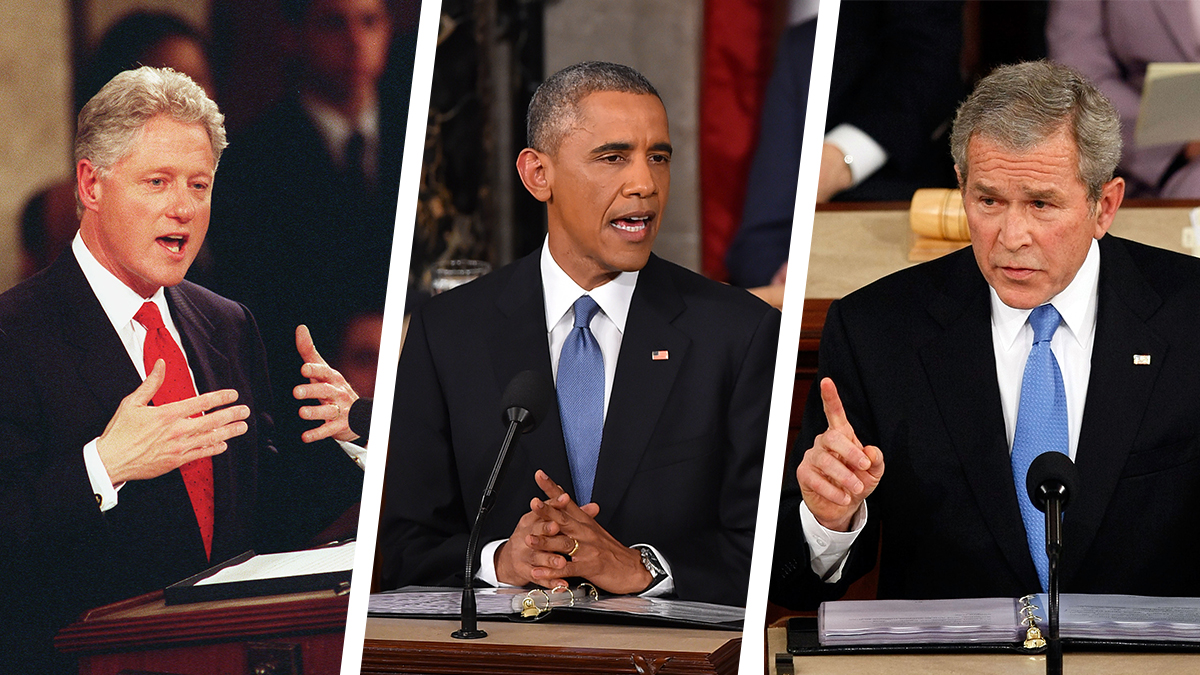 Presidents Bill Clinton, Barack Obama and George W. Bush giving state of the union addresses.