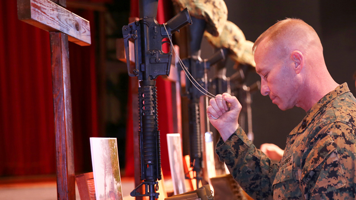 A memorial service was held for four U.S. Marines killed in an explosion at Camp Pendleton on Nov. 13, 2013. According to base officials, the EOD Marines were killed in an explosion during range maintenance operations to dispose of unexploded ordnance on base.