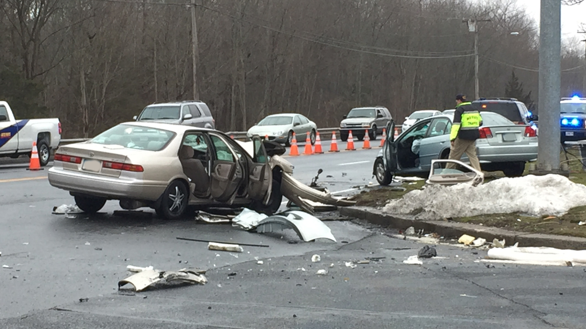 Cromwell police said three people suffered serious injuries in a crash on Route 372 in Cromwell Tuesday afternoon.