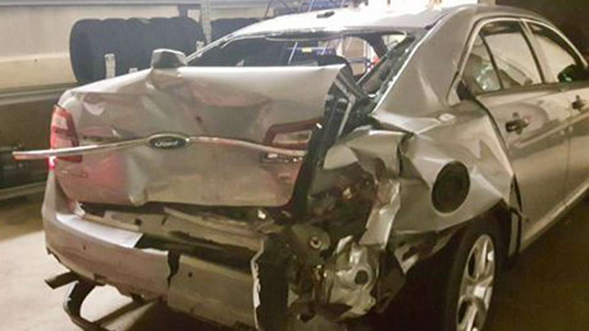 A Connecticut State police cruiser was rear-ended on I-91 early Sunday morning while responding to a different accident.