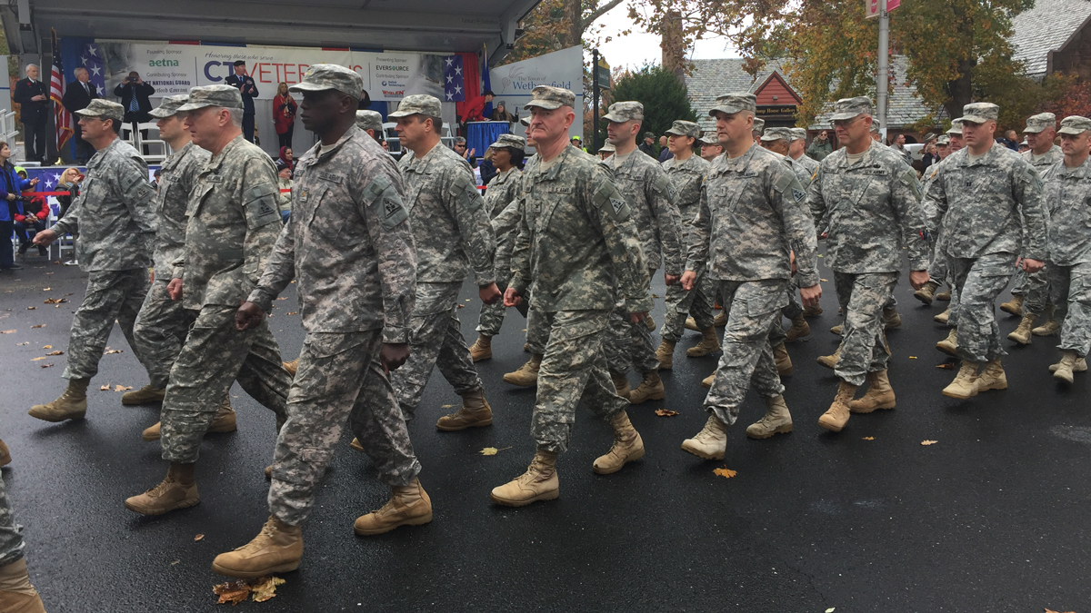 Veterans marching in the Connecticut Veterans Parade in downtown Hartford during a previous event.