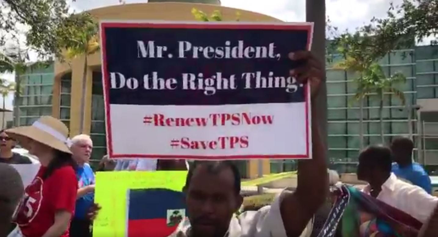 TPS rally in Miami, Florida, on May 13, 2017. Demonstrators are calling for the Department of Homeland Security to extend the Temporary Protected Status of Haitians in the U.S.