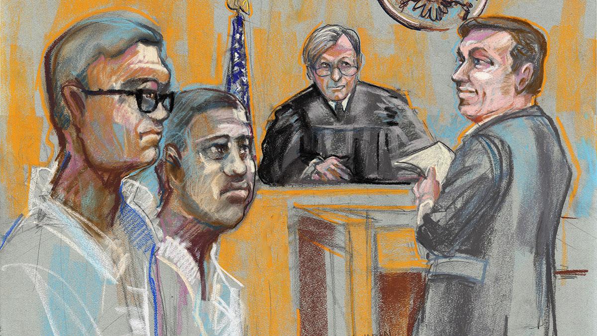 Thursday April 16, 2015  L to R: Jaime Casillas, Andrew Reyes Judge Mitchell Dembin, Assistant U.S. Attorney Andrew Haden.