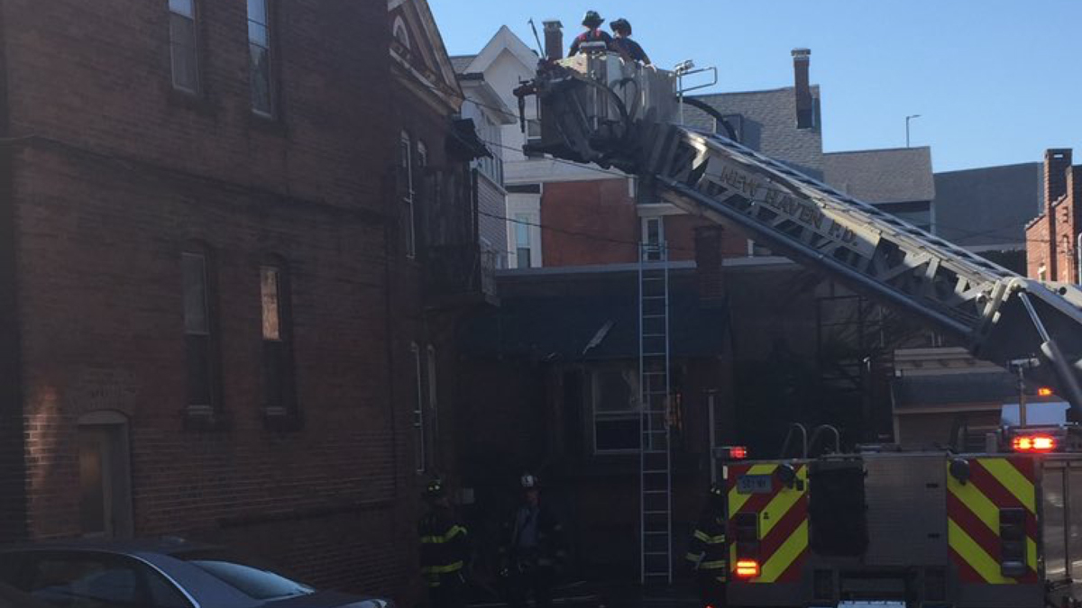 Fire crews on scene at 1187 Chapel St. in New Haven Tuesday
